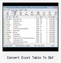 Dbf Read convert excel table to dbf
