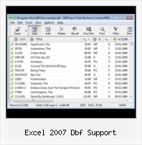 File Open Dbf excel 2007 dbf support